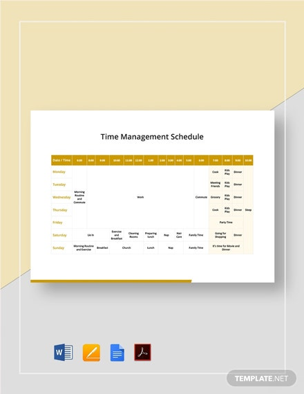 Time Management Schedule Template