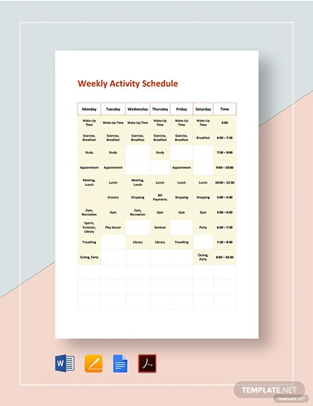 weekly activity schedule 2