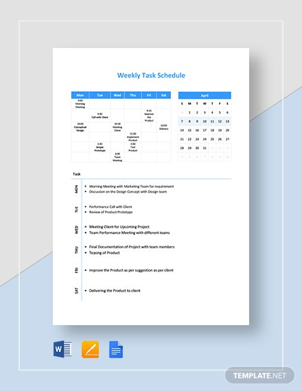 Weekly Task Schedule Template