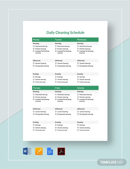 Printable Daily Cleaning Schedule Template