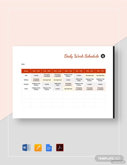 restaurant daily work schedule template