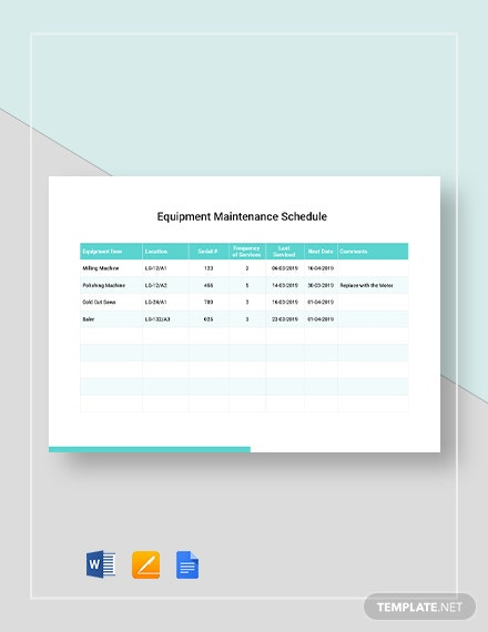 Simple Equipment Maintenance Schedule Template