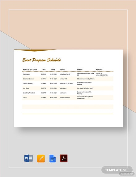 Printable Event Program Schedule Template