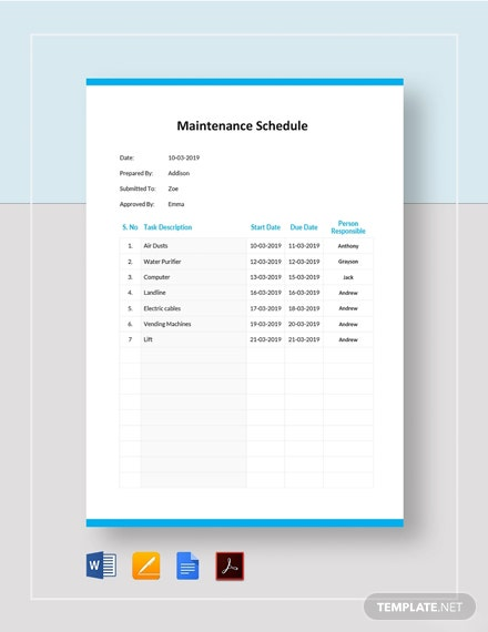 Simple Maintenance Schedule Template