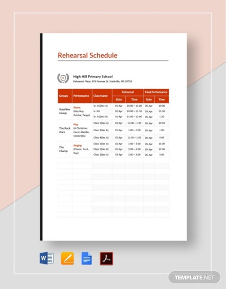 School Rehearsal Schedule Template [Free PDF] - Google Docs, Word, Apple Pages