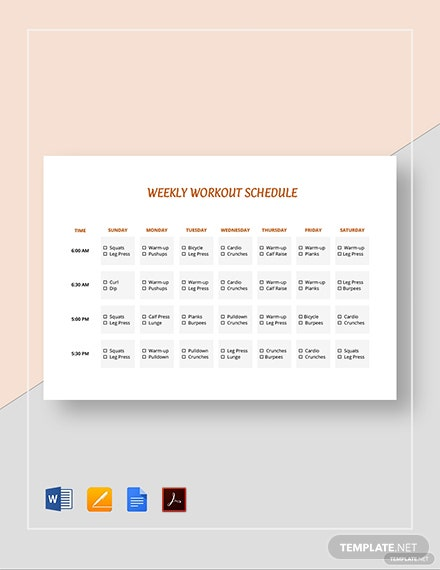 picture relating to Printable Workout Schedule called Printable Weekly Work out Routine Template - Term Google