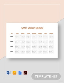 Printable Weekly Workout Schedule Template