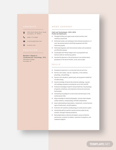 Cath Lab Technologist Resume Template