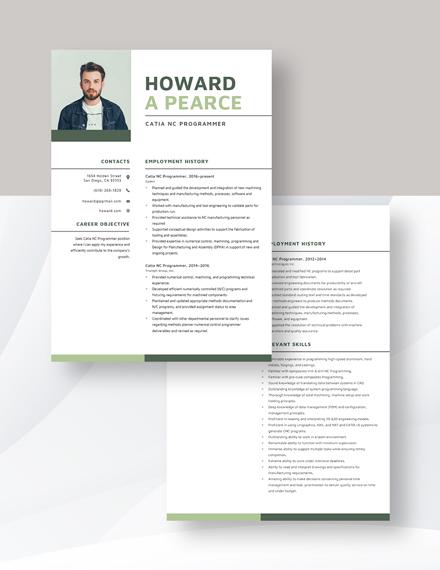 Catia NC Programmer Resume Download