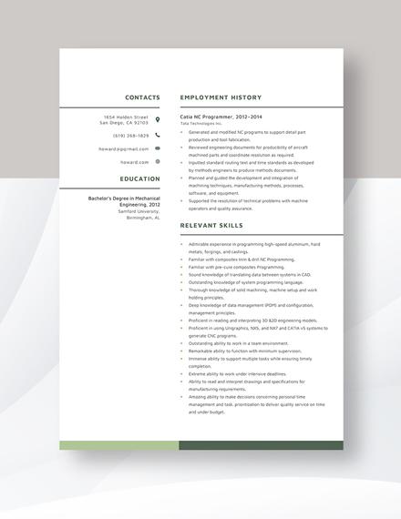 Catia NC Programmer Resume Template