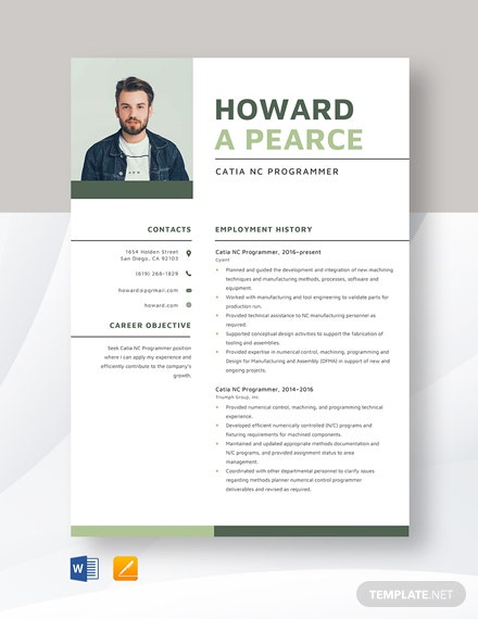 Catia NC Programmer Resume Template
