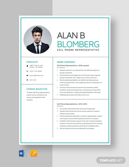 Cell Phone Representative Resume Template