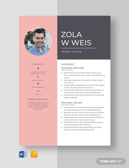 Cement Mason Resume Template