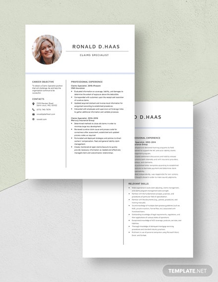 Claims Specialist Resume Download