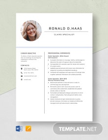 Claims Specialist Resume Template