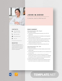 Clinical Data Specialist Resume Template