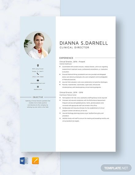 Clinical Director Resume Template
