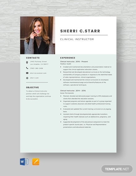 Clinical Instructor Resume Template