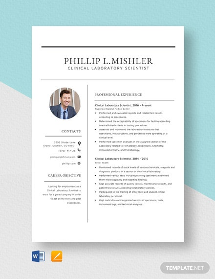 Clinical Laboratory Scientist Resume Template