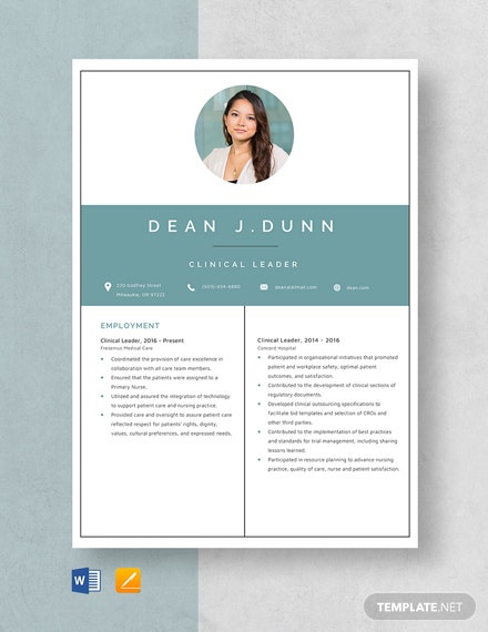 Clinical Leader Resume Template