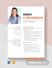 Clinical Librarian Resume Template