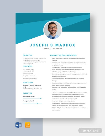 Clinical Manager Resume Template