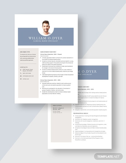 Clinical Nurse Specialist Resume Download