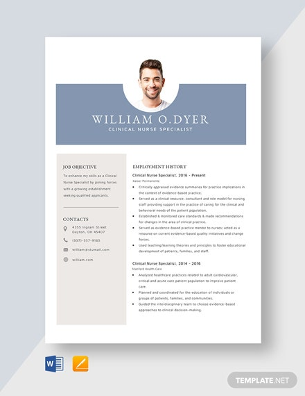 Clinical Nurse Specialist Resume Template