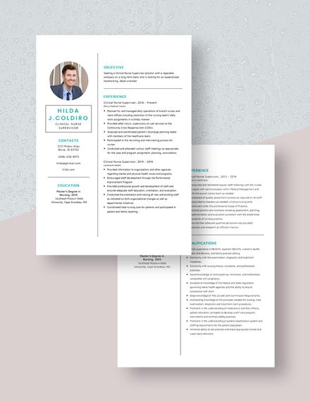 Clinical Nurse Supervisor Resume Download