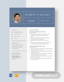 Clinical Product Specialist Resume Template