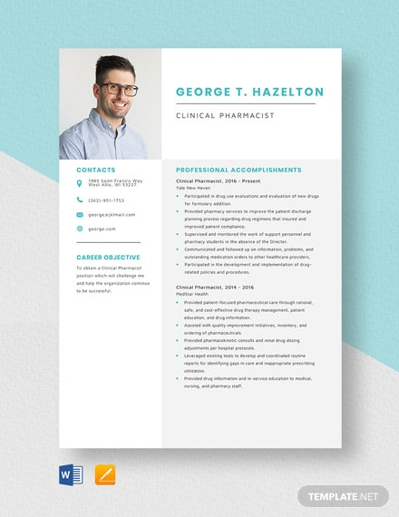 Clinical Pharmacist Resume Template