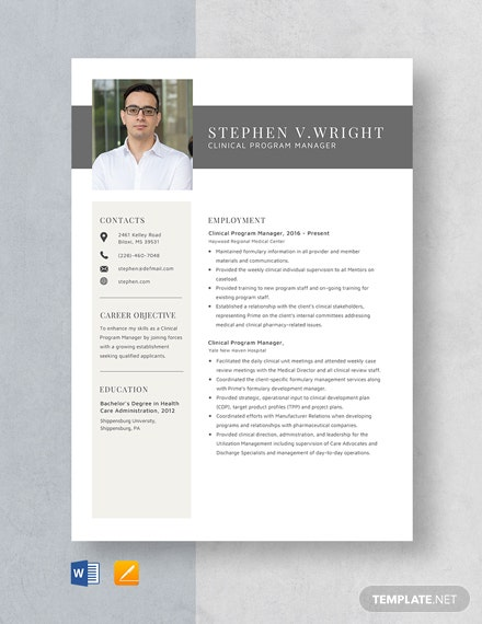 Clinical Program Manager Resume Template