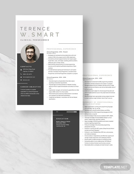 Clinical Programmer Resume Download