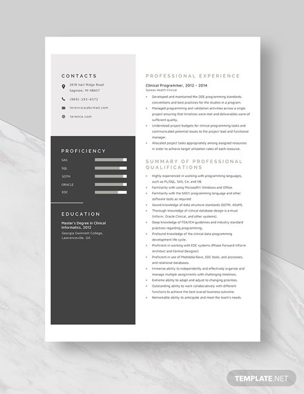Clinical Programmer Resume Template