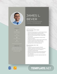 Clinical Psychologist Resume Template
