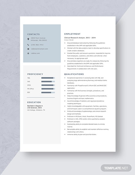 Clinical Research Analyst Resume Template