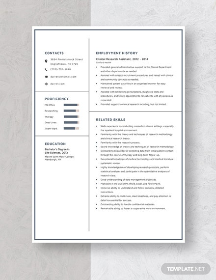 Clinical Research Assistant Resume Template