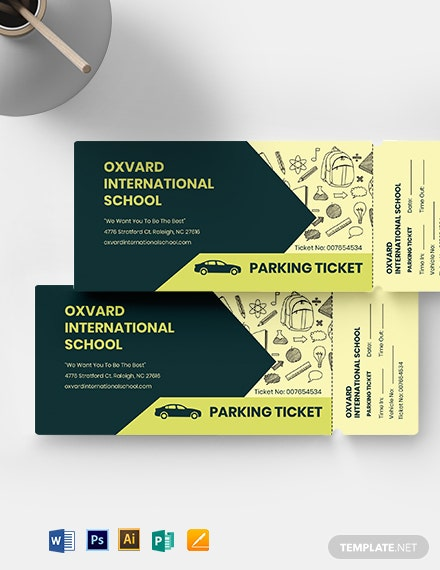 School Parking Ticket Template