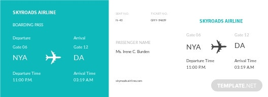 Simple Airline Ticket Template