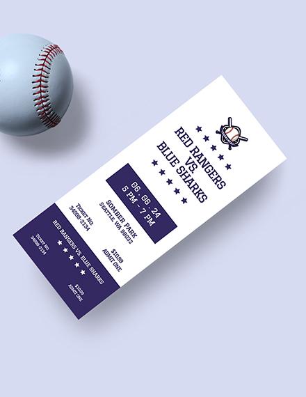 Sample Simple Baseball Ticket
