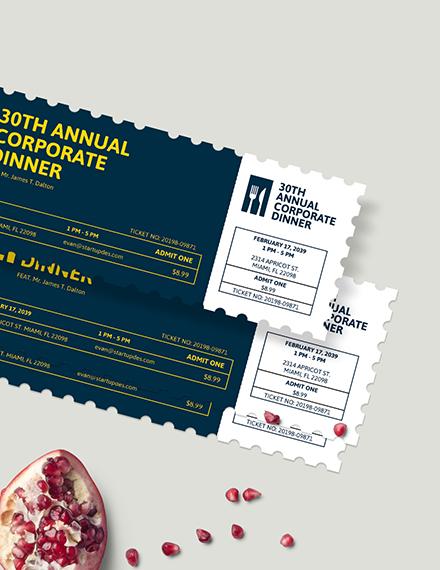 Sample Simple Dinner Ticket