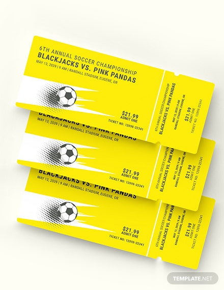 Sample Soccer Admission Ticket