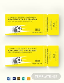 Soccer Admission Ticket Template