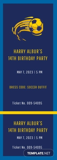 Soccer Birthday Invitation Ticket Template