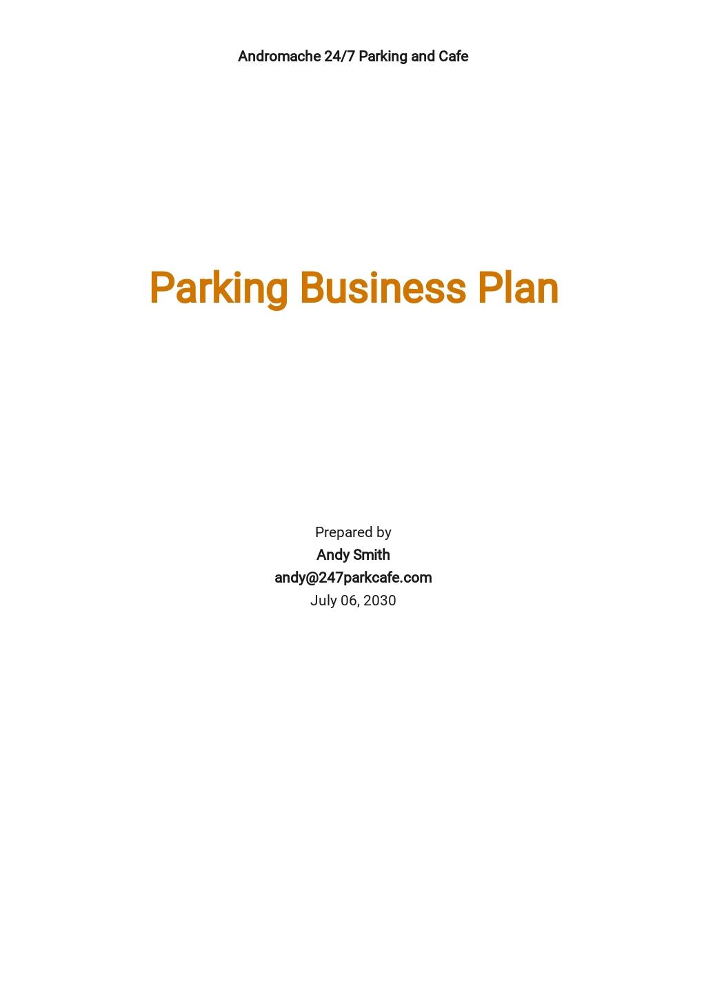 Parking or Valet Parking Business Plan Template