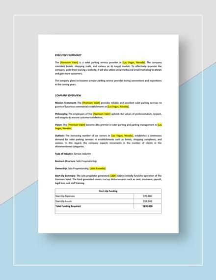 Parking or Valet Parking Business Plan Download