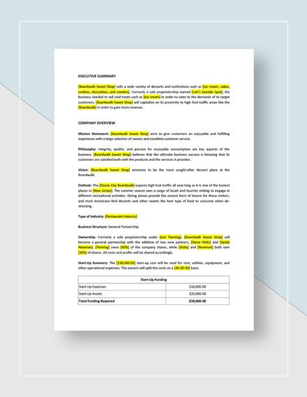 Partnership business plan Download