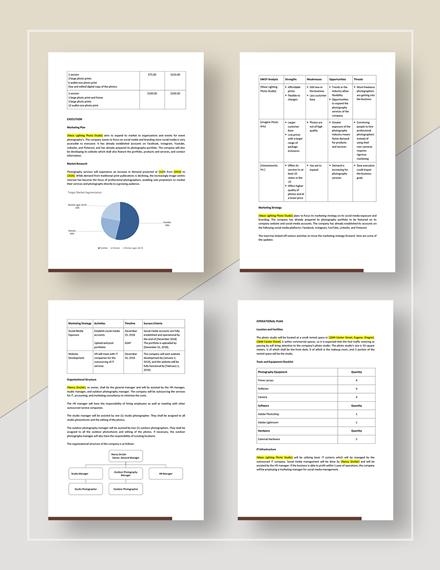 Sample Photography Studio Business Plan