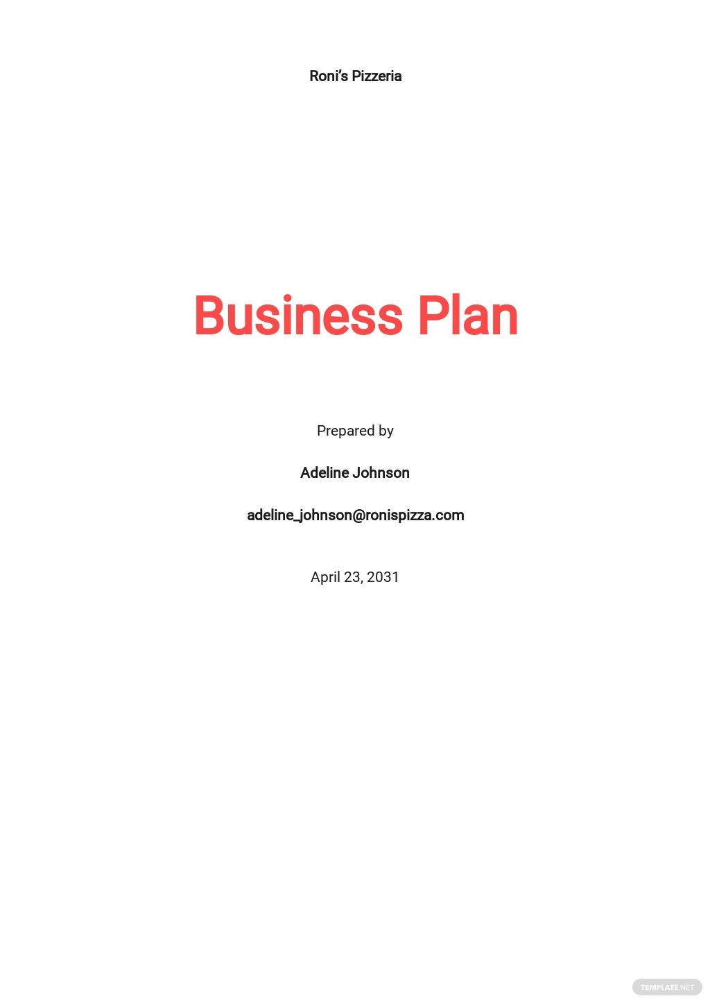 Pizza Delivery Business Plan Template