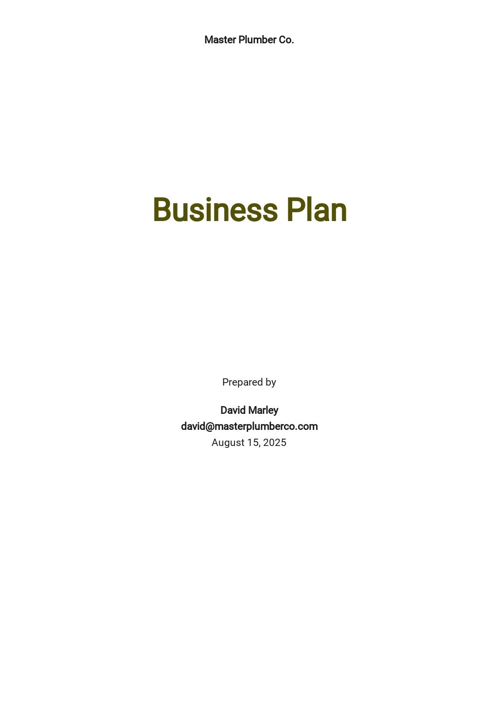 Plumbing Company Business Plan Template